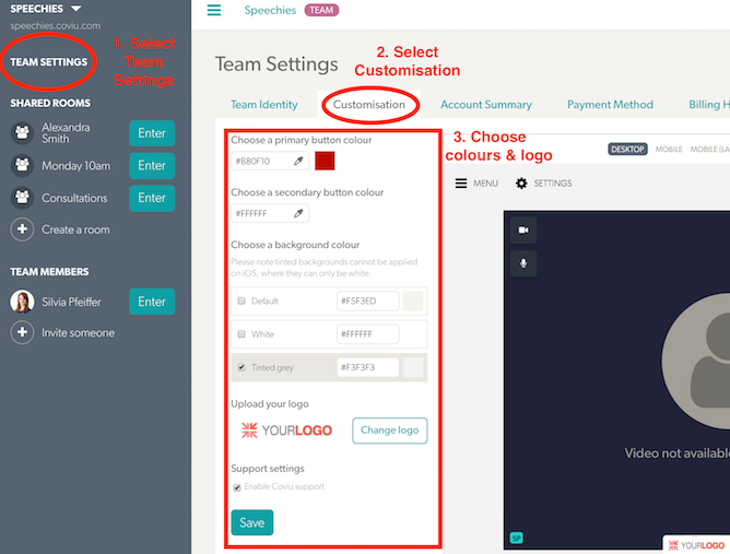 Customisation of Coviu's interface