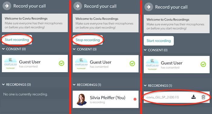 Recording your Coviu call